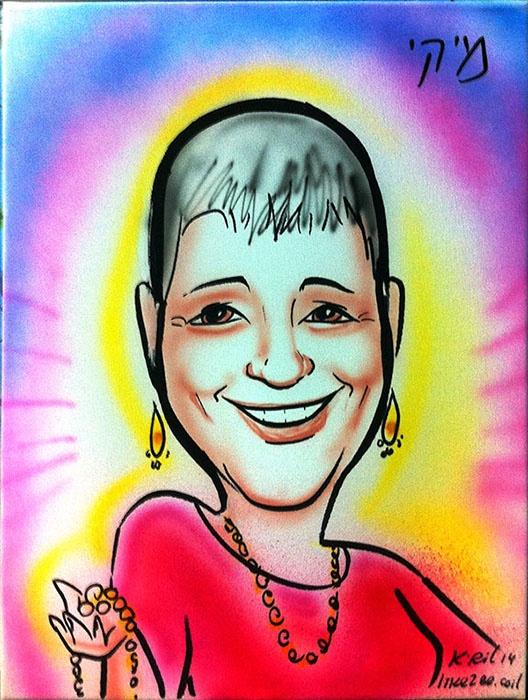 קנבס צבעוני לאישה בטכניקת איירבראש