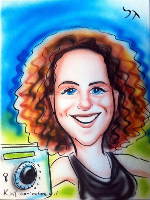קנבס צבעוני אישה בטנכניקת איירבראש