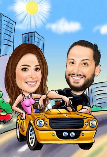 קריקטורה דיגטלית זוגית במכונית