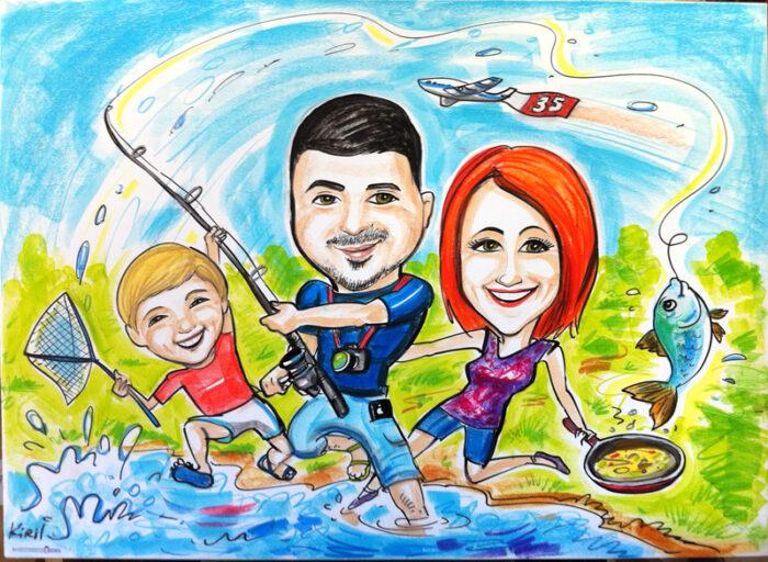 קריקטורה משפחתית בצבעי פסטל ופנדה