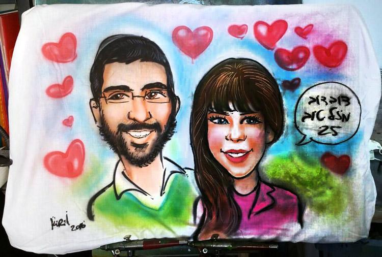 ציפית צבעונית עם תמונה זוגית מתנה לזוג