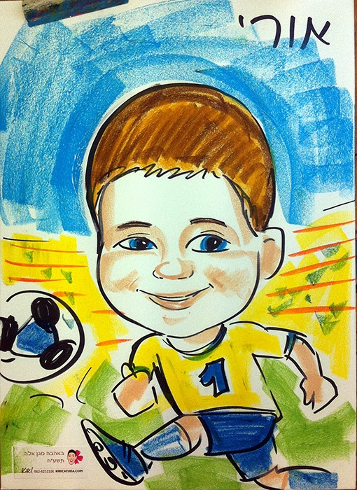 ציור על פוסטר בפאנדה ופסטל לילד עם נושא
