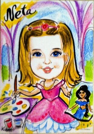 ציור ילדה על פוסטר עם תחביב