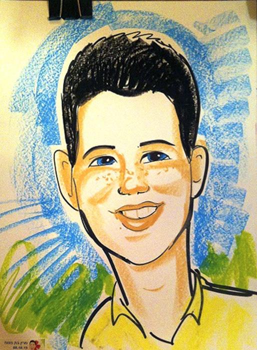 ציור על פוסטר נייר בצבעי פנדה ופסטל
